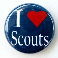 """I LOVE SCOUTS - Novelty Button Pinback Badge 1"""" Boy Scout Group Blue Pin"""