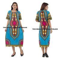 Dashiki African Poncho Tribal Long Shirt Maxi Kaftan 100% Cotton Dress Gown Boho