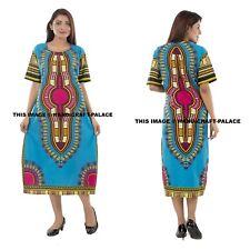Dashiki African Poncho Tribal Long Shirt Maxi Kaftan 100% Cotton Plus Size Dress