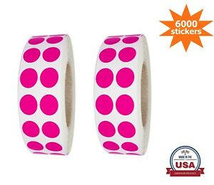 Small Neon-Pink Color-Coding Dot Stickers 10MM (3/8 Inch)  6000 Labels on Rolls