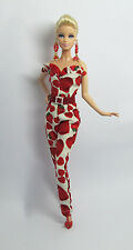 Handmade Red Heart Strawberry White Outfit Dress & Earrings For Barbie Muse Doll
