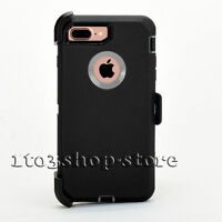 iPhone 7 Plus & iPhone 8 Plus Defender Hard Case w/Holster Belt Clip Black Gray