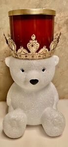 Bath & Body Works 3-Wick Candle Holder Pedestal GLITTER POLAR BEAR w/ gold crown