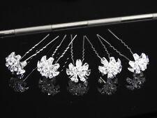 5 x silver rhinestone diamante crystal hair pin wedding updo clip slide bridal