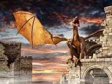 Mural De Pared Dragon Castillo Fantasía grandes reposicionables Vinilo Interior Arte Decoración