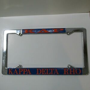 Kappa Delta Rho Chrome License Plate Frame, Die Cast, New, Made in USA