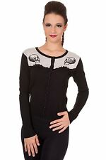 BANNED Apparel Parallel Universe Gothic Skulls Knitted Women's Cardigan Black S