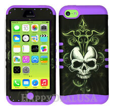 For Apple iPhone 5c KoolKase Hybrid Armor Silicone Cover Case - Skull Cross 05