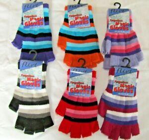 Fingerless Magic Gloves Rainbow Multicoloured Striped Wrist One Size By Flirt W2
