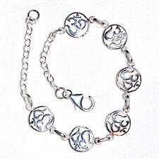 Solid 925 Silver Sanscrit Om Aum Bracelet~Reiki~Buddhist~Yoga~Pagan Jewellery