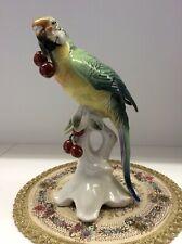 Porzellan figur Ens Papagei mit Kirschen Vogel 25cm