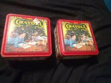 "2 Rare Vintage Holiday ""Crayola Crayons"" Metal Tins 1992"