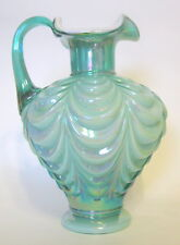 Fenton Turquoise Draped Pitcher Cased Iridescent Glass 7 to 8 Inches Signed