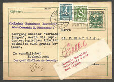 AUSTRIA. 1933. UPRATED CARD. ZOOLOGISCH - BOTANISCHE COMPANY. ADDRESSED TO ITALY