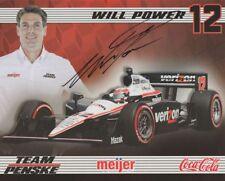 2011 Will Power signed Meijer Coca-Cola Honda Dallara Indy 500 Indy Car postcard