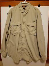 Redington Vented Fishing Shirt UPF/30+ Long Sleeve Size M Medium Nylon Khaki EUC