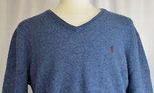 Polo Ralph Lauren Sz XL Sweater V-neck Blue Pullover Lambswool Italian Yarn Pony