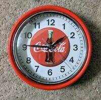 Vintage Coca Cola Wall Clock Collectible Round Red Coke Clock.