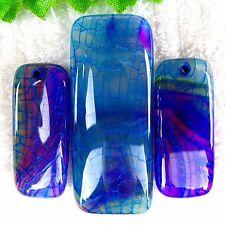 3Pcs/set Blue & Purple Dragon Veins Fire Agate Rectangle Pendant Bead DF13696
