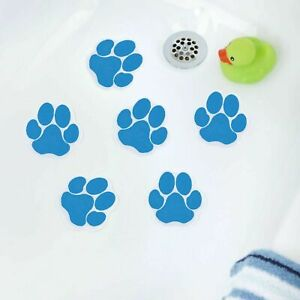 Adhesive Paw Print Bath Tub Treads (6 Per Pack) in Pink or Blue SlipX Solutions