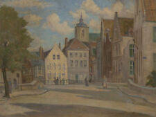 20th Century Oil - Dutch Street Scene with Figures