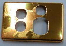 CLIPSAL C2000 POLISHED BRASS ALUMINIUM GOLD COVER SINGLE POWERPOINT WIT 2 SWITCH