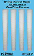"4  x 20"" String Wound Sediment Water Filter Cartridge 5Micron Well Biodiesel WVO"