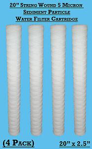 "4  x 20"" String Wound Sediment Water Filter Cartridge 5Micron Well Biodiesel WVO"