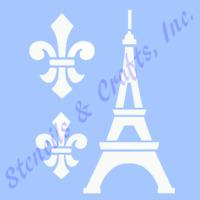 "4 1/2"" EIFFEL TOWER STENCIL FLEUR DE LIS TEMPLATE CRAFT STENCILS TEMPLATES NEW"