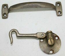 Vintage Antique Industrial Steel Door Cabinet Pull Handle & Hook Locking Latch
