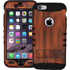 """Firebrick Wood Pattern Hybrid Hard Case for iPhone 6 Plus 5.5"""" Protective Cover"""