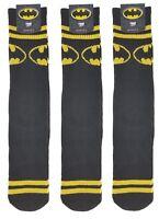 3 Pair Lot of Bioworld BATMAN SHIELD Mens Crew Socks 10-13 (shoe size 8-12) NWT