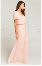 335672a9034 Show Me Your Mumu Michelle Flutter Maxi Dress Dusty Blush Crisp Size XL  184