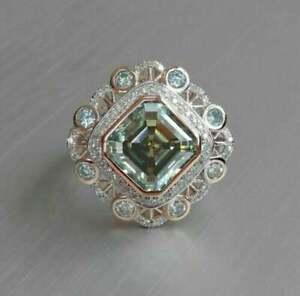 Art Deco Style Asscher Cut Aquamarine Diamond in 925 Silver Vintage Wedding Ring