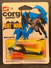 Corgi Junior Batman Batcopter #78 1976 On Card 55064 RARE