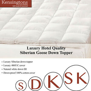 Goose Feather and Down Mattress Toppers Bed Enhancer 50/50 Single & King Sizes
