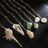 Shell Necklace Cowrie Beach Sea Pendant Choker Women Fashion Gold Chain Jewelry