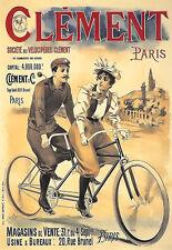 Art ad Clement Bicicleta tándem bicicletas Deco cartel impresión