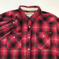 Roebuck & Co. Snap Button Shirt Men's 2XL XXL Long Sleeve Red Black Gray Plaid