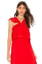 The Jetset Diaries Sintra Ruffle Crop Top in Crimson Size M Medium $130