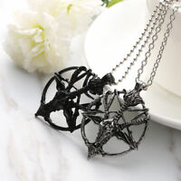 Unisex Punk Cool Pentagram Pan God Skull Goat Head Pendant Necklace Luck Jewelry