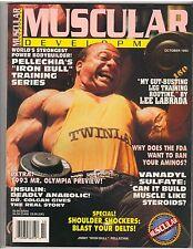 MUSCULAR DEVELOPMENT bodybuilding muscle mag/Jimmy Iron Bull Pellechia 10-93