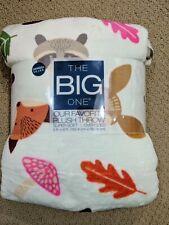 The Big One 5'x6' Super Soft Plush Throw Blanket Woodland Animals Fox Deer Nwt