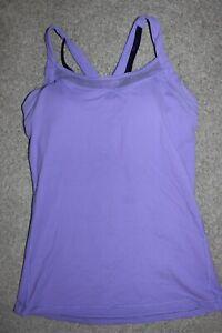 Womens Sz 8 Lululemon Strappy Criss-Cross Back Tank Top Padded Sports Bra Purple