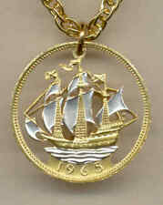 Great Britain 1/2 Penny Sailing Ship Cut Coin Gold on Silver Pendant + Necklace