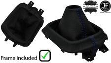 BLUE STITCH LEATHER MANUAL GEAR GAITER +PLASTIC FRAME FOR MAZDA CX5 CX-5 12-16