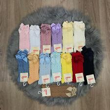 Girls Genuine Spanish Socks Condor Knee High Open Weave Bow Socks Romany Socks