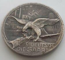 German Reichs Medal SAAR 1935 Silvered Bronze Pre-War Germany Exonumia Token