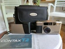 Contax T2 35mm f/2.8 35mm Film Camera - Champagne Silver with data back + manual