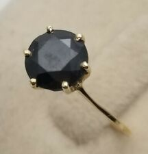 Women's Solid 14k Yellow Gold Genuine 1 .5 Solitaire BLACK Genuine Diamond Ring